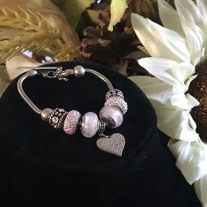 LOVE Beaded 925 Sterling Silver Bracelet NEW